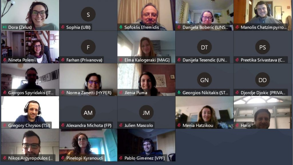Screenshot form CYRENE's second virtual plenary meeting with pictures of the attendees' majority