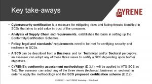CYRENE Targets of Evaluation - key take aways
